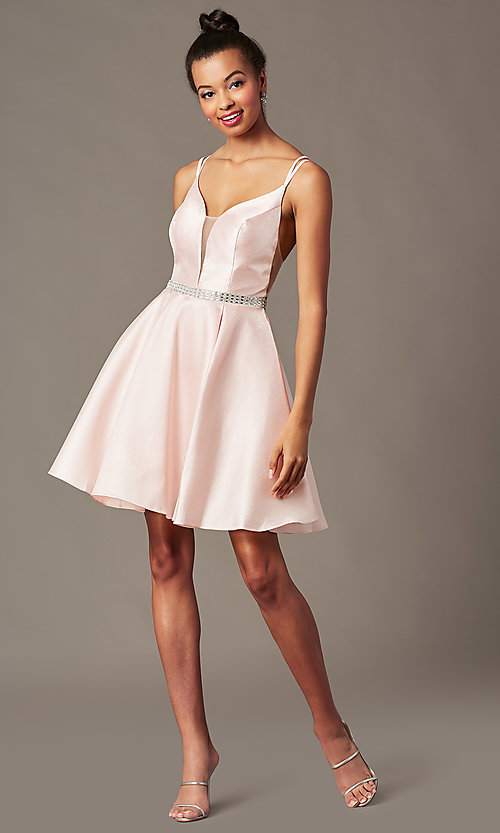 Image of short taffeta homecoming party dress by PromGirl. Style: FB-PL-GS2844 Detail Image 3