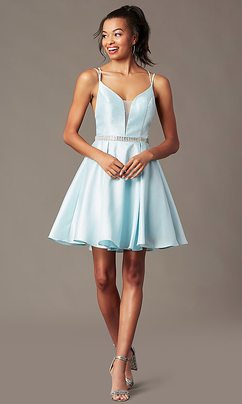 Image of short taffeta homecoming party dress by PromGirl. Style: FB-PL-GS2844 Front Image