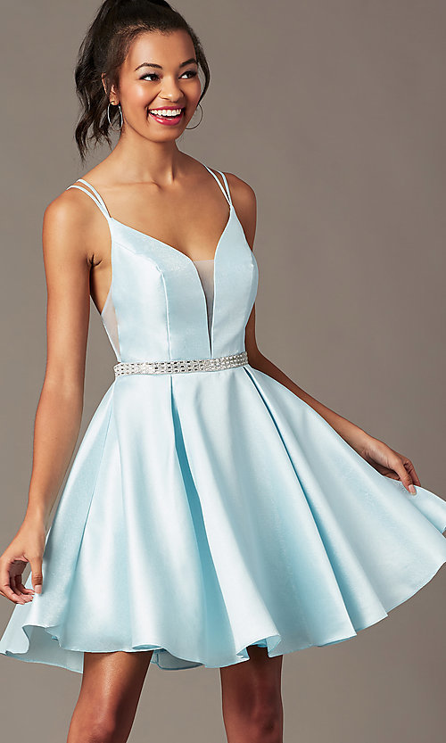 Image of short taffeta homecoming party dress by PromGirl. Style: FB-PL-GS2844 Detail Image 2