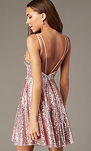 Image of short sequin v-neck mauve hoco dress by PromGirl. Style: FB-PL-GS2848 Back Image