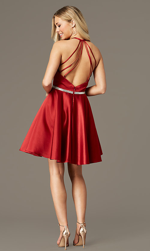 Image of short satin homecoming dress by PromGirl. Style: FB-PL-GS2852 Detail Image 2