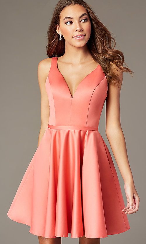 Image of coral pink short homecoming dress with pockets. Style: FB-GS2854 Front Image