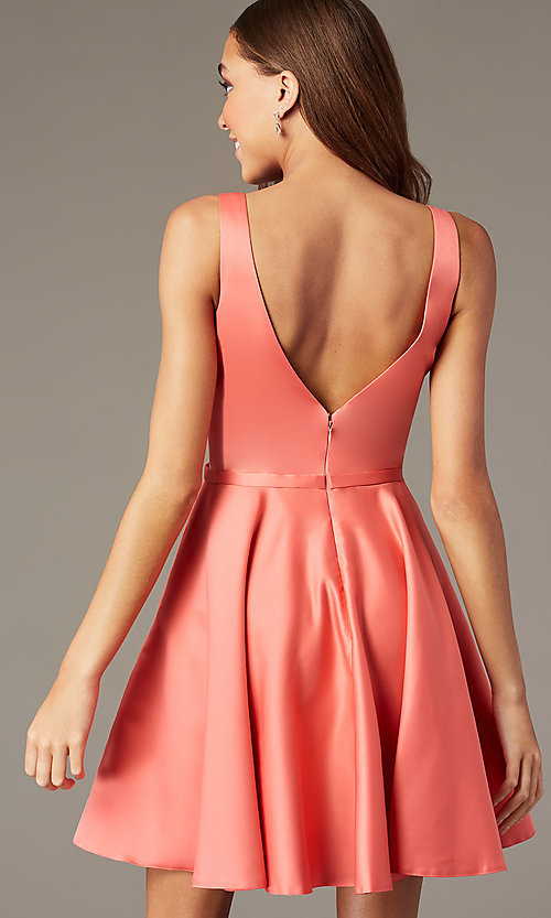 Image of coral pink short homecoming dress with pockets. Style: FB-GS2854 Back Image