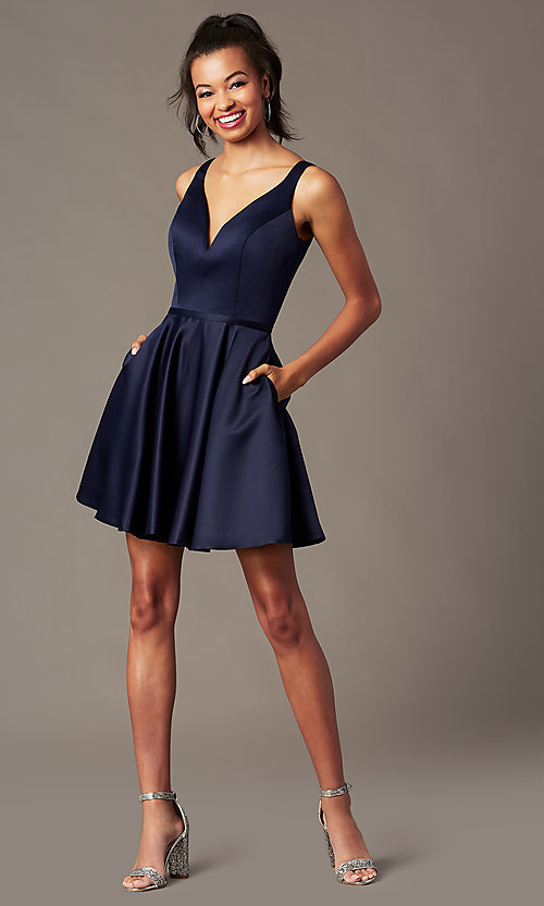 Image of navy blue short homecoming party dress by PromGirl. Style: FB-PL-GS2854 Front Image
