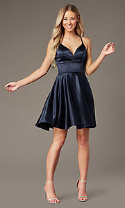 Image of short v-neck satin homecoming dress by PromGirl. Style: FB-PL-GS2859 Detail Image 1