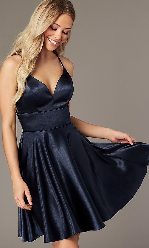 Image of short v-neck satin homecoming dress by PromGirl. Style: FB-PL-GS2859 Front Image