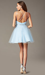 Image of short pleated-bodice homecoming dress by PromGirl. Style: FB-PL-GS2867 Back Image