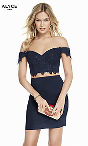 Image of short sweetheart two-piece homecoming party dress. Style: AL-A4132 Front Image