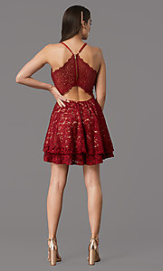 Image of red/nude glitter-lace short homecoming party dress. Style: EM-FQP-3473-616 Back Image