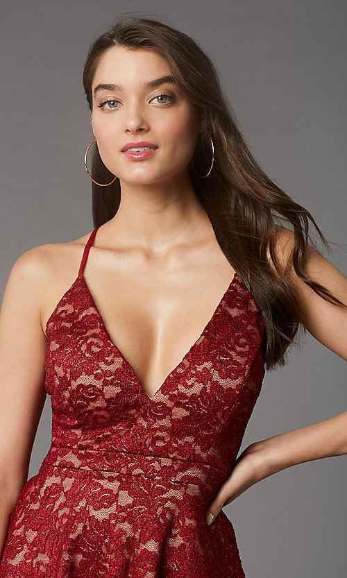 Image of red/nude glitter-lace short homecoming party dress. Style: EM-FQP-3473-616 Detail Image 1