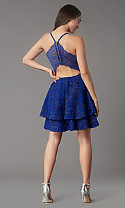 Image of short tiered homecoming party dress with lace back. Style: EM-FQP-4283-420 Back Image