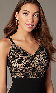 Image of knee-length lace-bodice black wedding-guest dress. Style: EM-HLG-1000-018 Detail Image 1