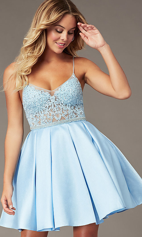 Image of ice blue short a-line homecoming dress with beads. Style: BL-PL-37IB Front Image