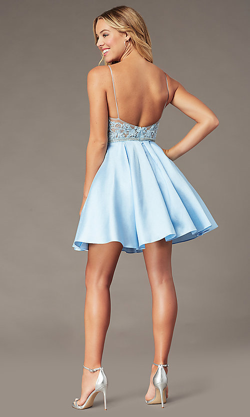 Image of ice blue short a-line homecoming dress with beads. Style: BL-PL-37IB Back Image