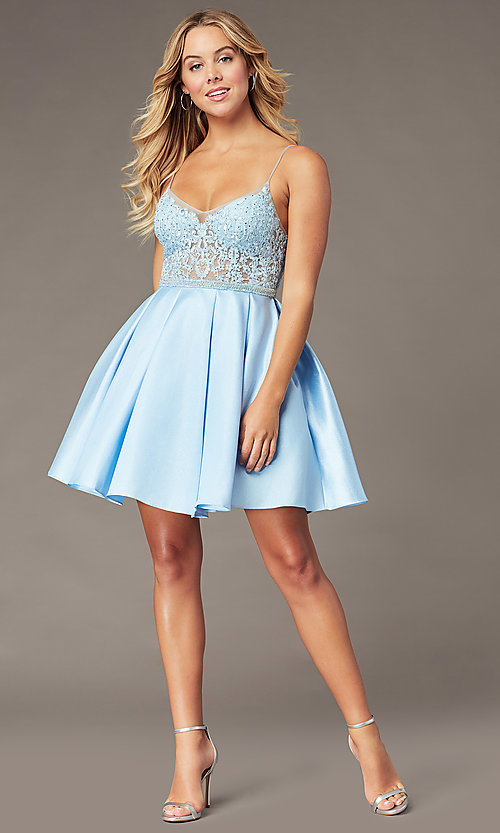 Image of ice blue short a-line homecoming dress with beads. Style: BL-PL-37IB Detail Image 2