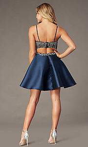 Image of short sparkly navy blue sweetheart hoco dress. Style: BL-PL-221B Back Image