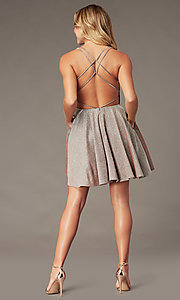 Image of sparkly copper short homecoming dress by PromGirl. Style: BL-PL-41 Back Image