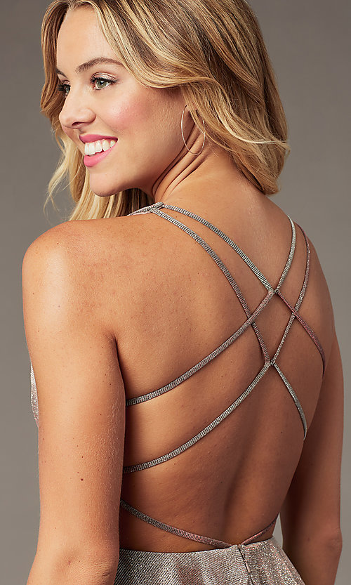 Image of sparkly copper short homecoming dress by PromGirl. Style: BL-PL-41 Detail Image 1