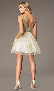 Image of glitter-mesh short v-neck homecoming party dress. Style: DQ-3178 Back Image