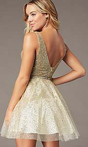 Image of glitter-mesh short v-neck homecoming party dress. Style: DQ-3178 Detail Image 1