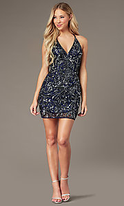 Image of midnight blue short sequin hoco dress by PromGirl. Style: PV-PL-157 Front Image