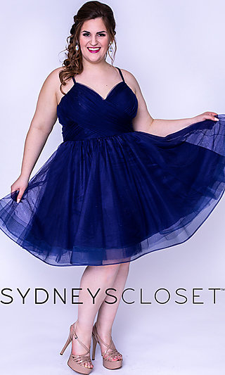 V-Neck Plus Homecoming Dress with an Empire Waist