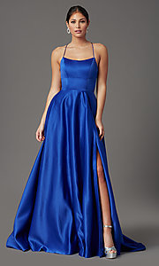 Image of long satin royal blue prom dress with pockets. Style: TI-GL-1911P8178G Detail Image 2