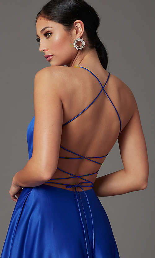 Image of long satin royal blue prom dress with pockets. Style: TI-GL-1911P8178G Detail Image 1