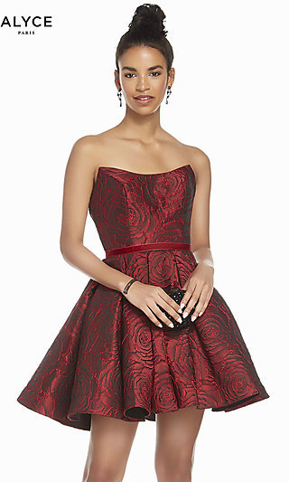 Short Red Rose Print Homecoming Dress by Alyce