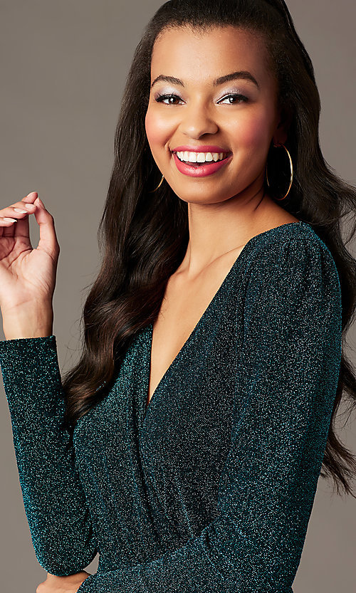 Image of long-sleeve green glitter-knit holiday party dress. Style: BLU-BD91113 Detail Image 2