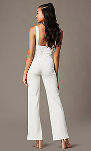 Image of v-neck holiday party jumpsuit in ivory white. Style: BLU-BR90349 Back Image