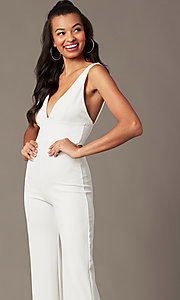 Image of v-neck holiday party jumpsuit in ivory white. Style: BLU-BR90349 Detail Image 2