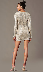 Image of sleeved silver and nude sequin holiday party dress. Style: JTM-JMD11057 Back Image