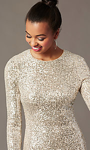Image of sleeved silver and nude sequin holiday party dress. Style: JTM-JMD11057 Detail Image 2