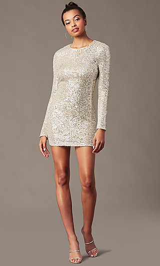 Sleeved Silver and Nude Sequin Holiday Party Dress