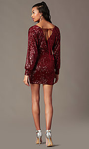 Image of sequin wine red holiday party dress with sleeves. Style: JTM-JD11116 Detail Image 1