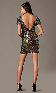 Image of holographic-sequin short black holiday party dress. Style: SOI-S19078C05 Back Image