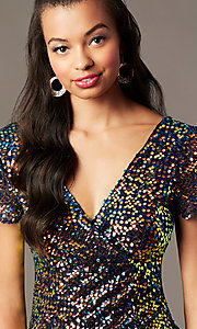 Image of holographic-sequin short black holiday party dress. Style: SOI-S19078C05 Detail Image 2