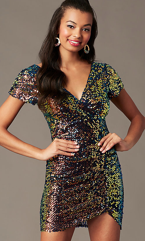 Image of holographic-sequin short black holiday party dress. Style: SOI-S19078C05 Detail Image 1