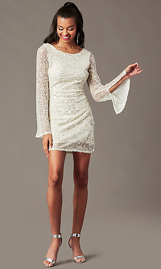 Bell-Sleeve Ivory Sequin Holiday Party Dress