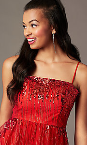 Image of short red sequin holiday party dress. Style: SOI-S18858 Detail Image 2