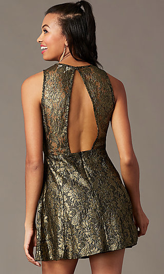 Back-Cut-Out Short Metallic Holiday Party Dress