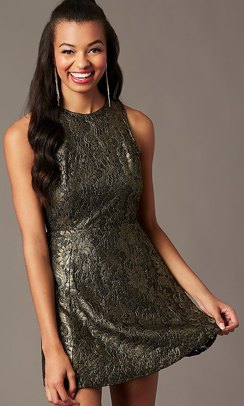 Image of back-cut-out short metallic holiday party dress. Style: IF-1018149D Back Image