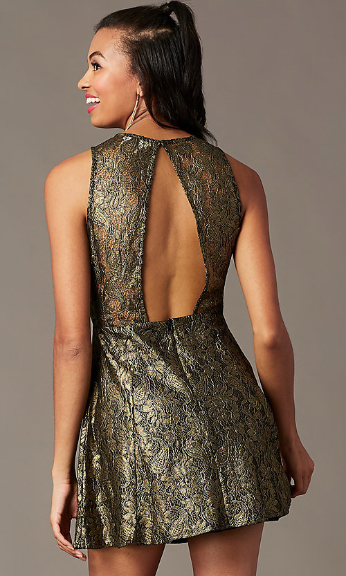 Image of back-cut-out short metallic holiday party dress. Style: IF-1018149D Front Image