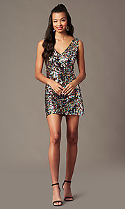 Image of short rainbow sequin holiday party dress. Style: IF-BD1441 Front Image