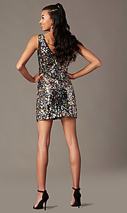 Image of short rainbow sequin holiday party dress. Style: IF-BD1441 Back Image