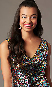 Image of short rainbow sequin holiday party dress. Style: IF-BD1441 Detail Image 2