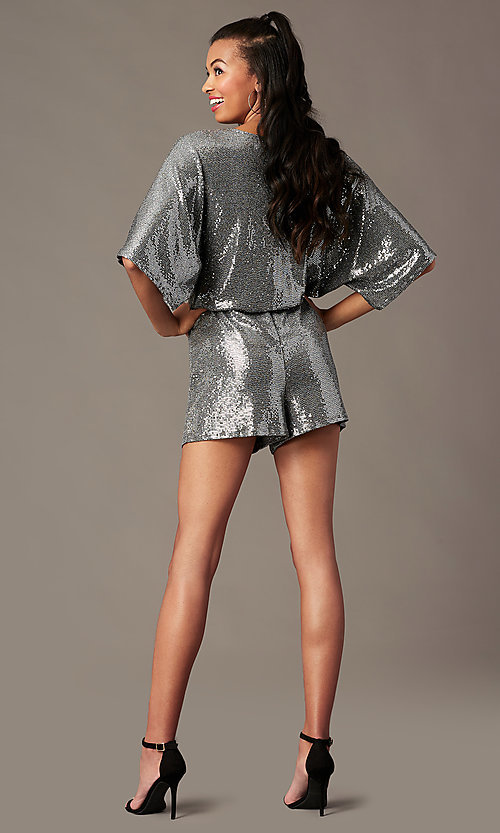 Image of silver sequin holiday party romper with sleeves. Style: RO-R68750 Back Image