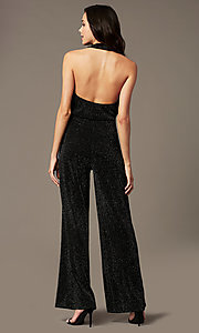 Image of holiday party black jumpsuit in glitter knit. Style: RO-R69899 Back Image