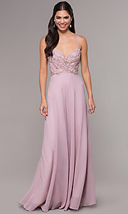 Image of sweetheart chiffon prom dress with adjustable straps. Style: SOI-W17850-v Front Image